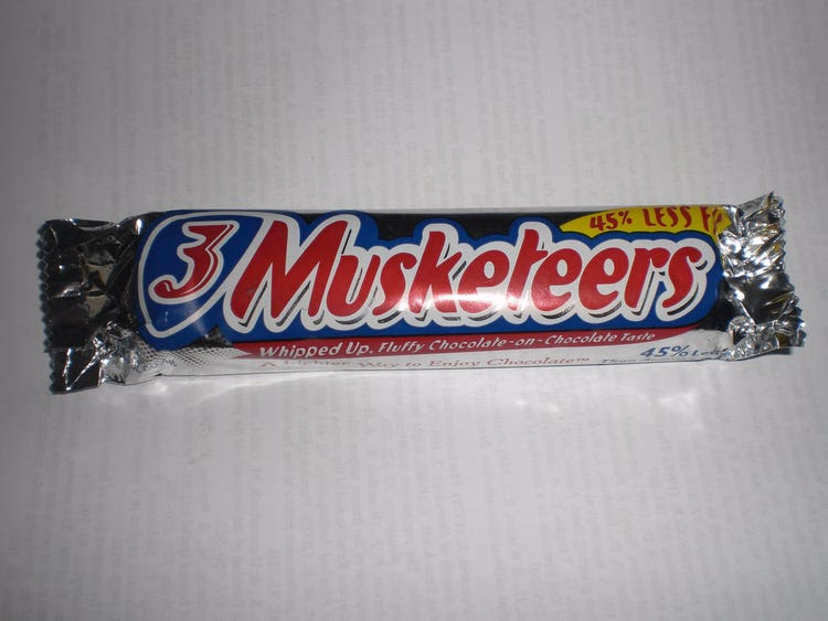 Healthy halloween candy 3 musketeers