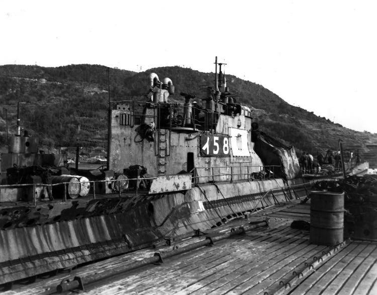 At Sasebo, Japan, 28 January 1946. This submarine torpedoed and sank USS Indianapolis (CA-35) on 30 July 1945 I-58