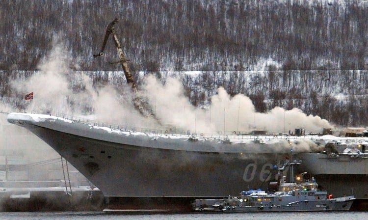 Russia aircraft carrier Admiral Kuznetsov fire